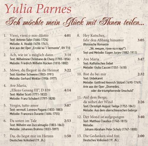 CD -  Yulia Parnes - Soprano